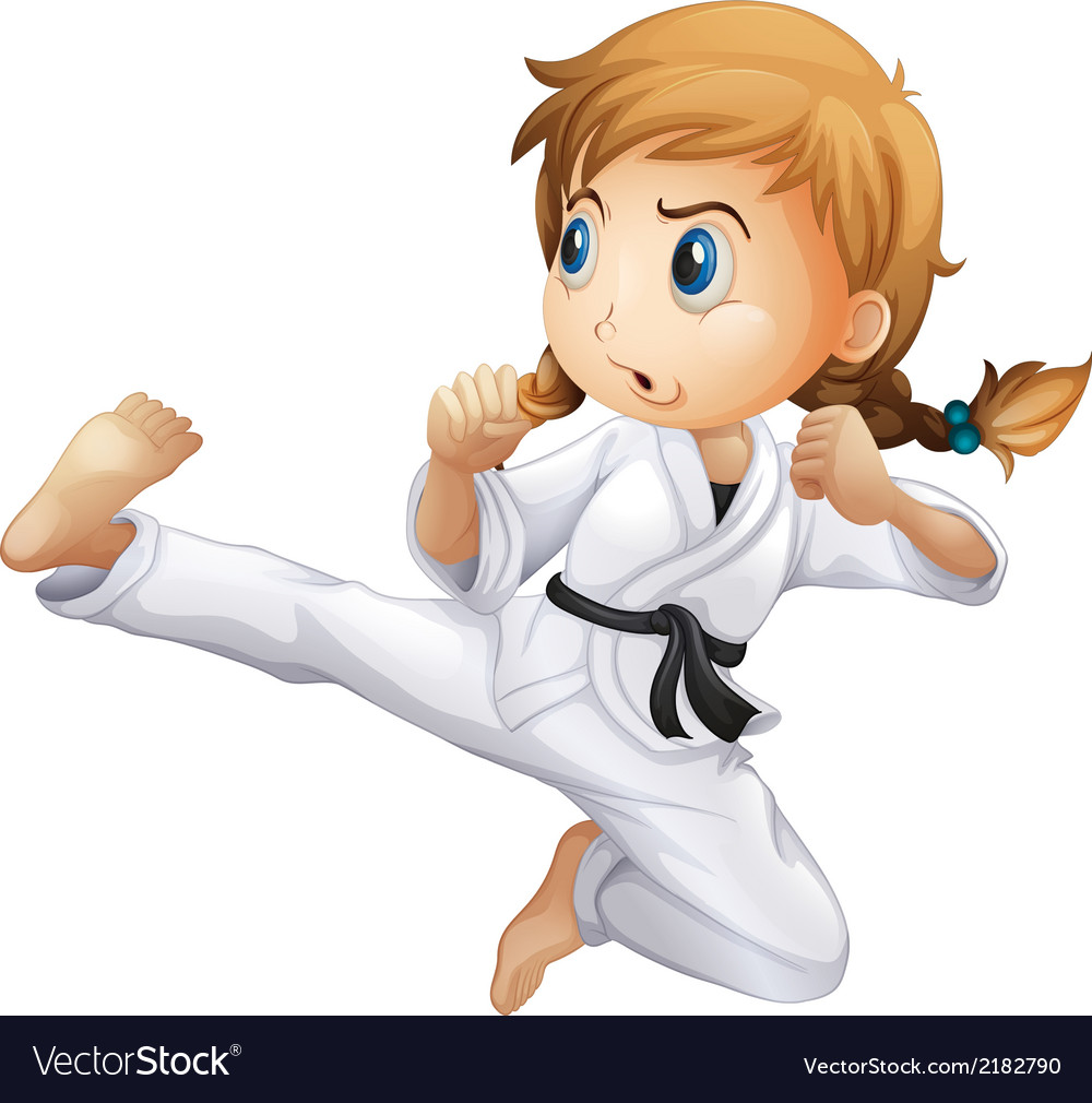 A female doing karate vector | Price: 1 Credit (USD $1)