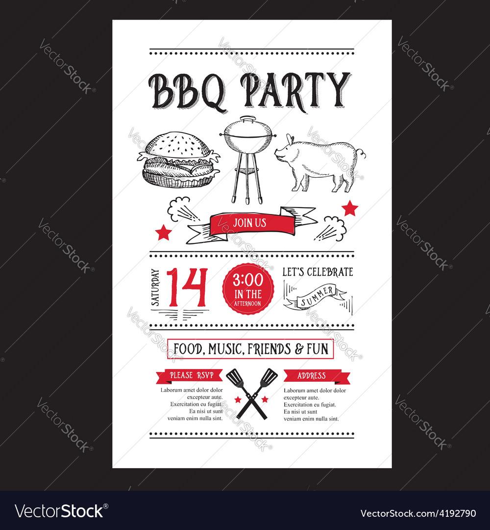 Barbecue party invitation bbq brochure menu design vector   Price: 1 Credit (USD $1)
