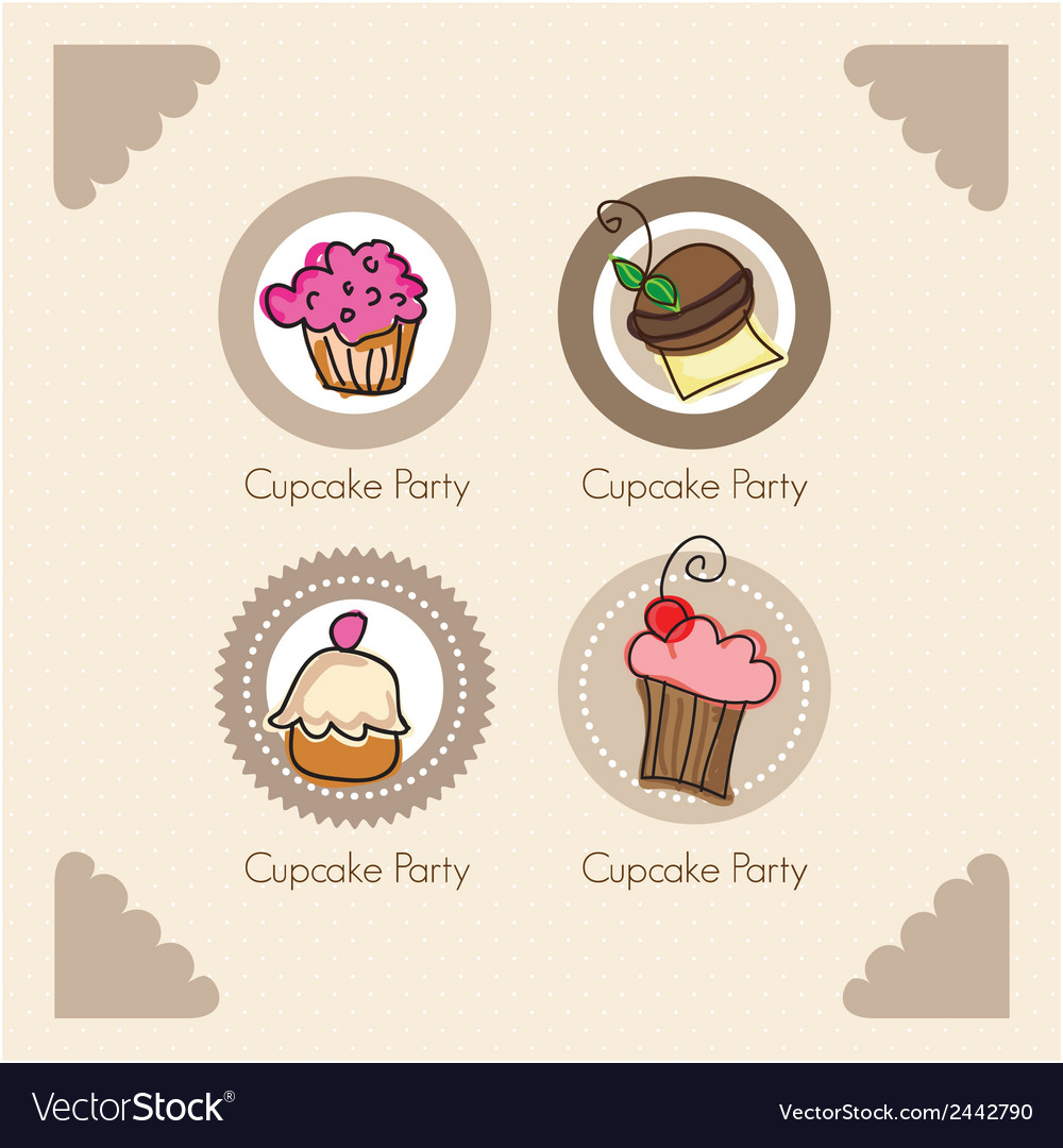 Cake cupcakes icons vector | Price: 1 Credit (USD $1)