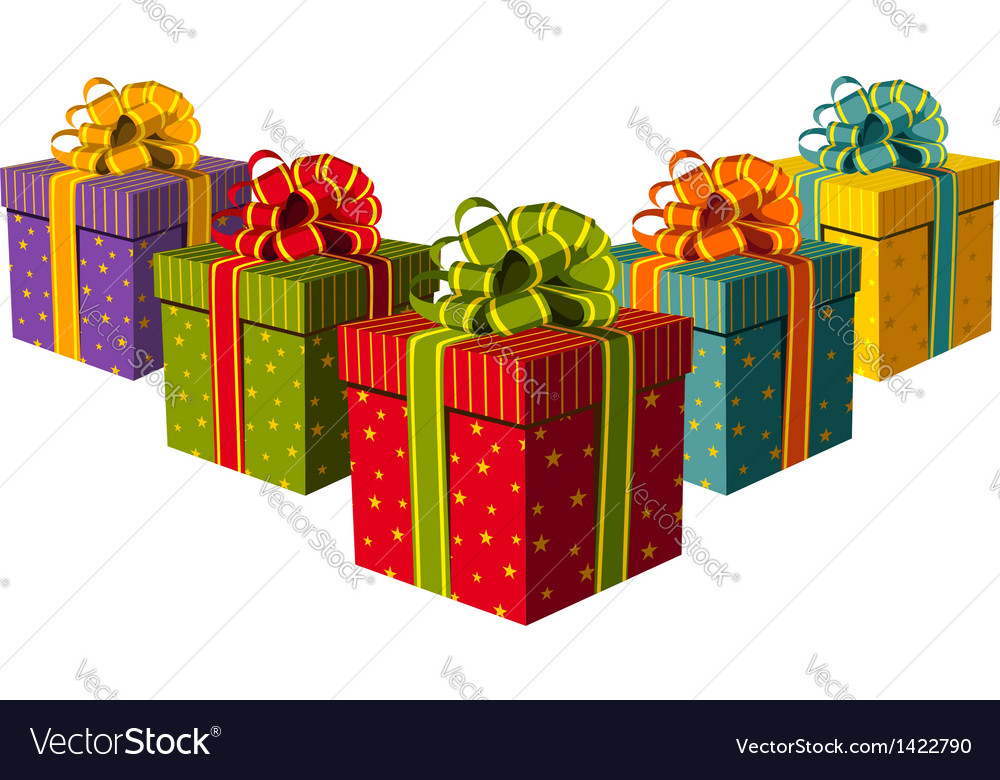 Colorful gift boxes vector | Price: 1 Credit (USD $1)