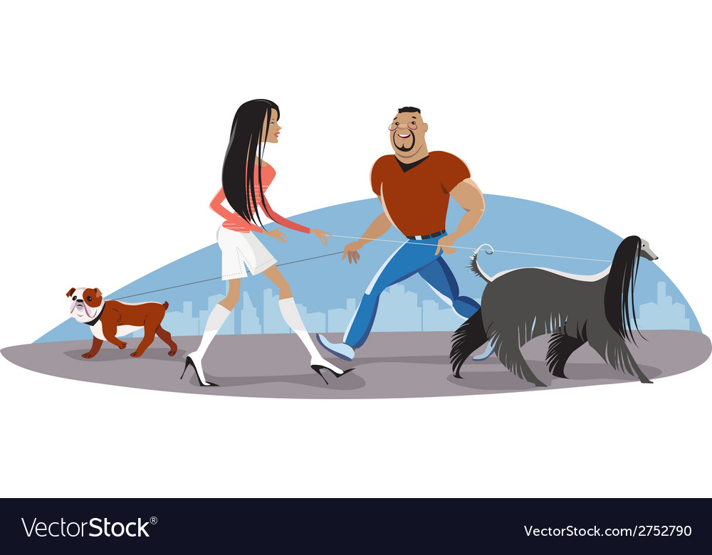 Couple walking dogs vector | Price: 1 Credit (USD $1)