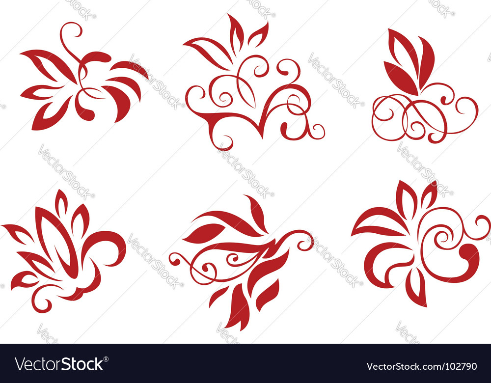Floral and flower decorations vector | Price: 1 Credit (USD $1)