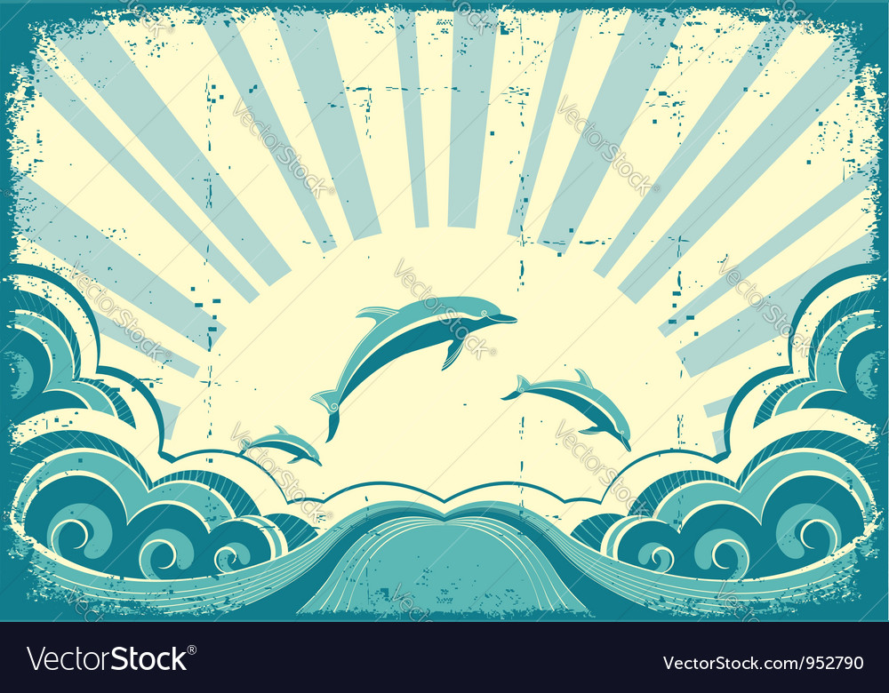 Grunge nature poster with dolphins in ocean vector | Price: 1 Credit (USD $1)