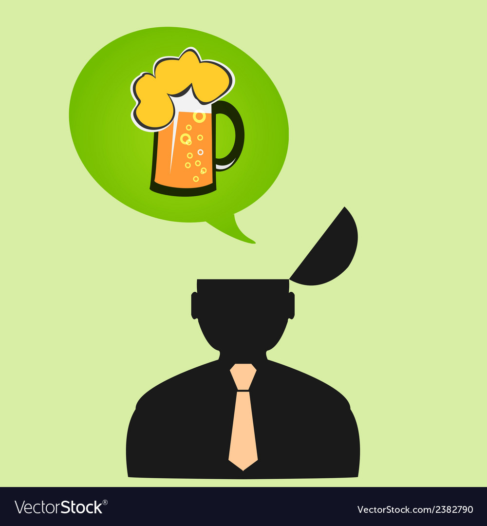 Icon man thinks about beer on friday vector | Price: 1 Credit (USD $1)