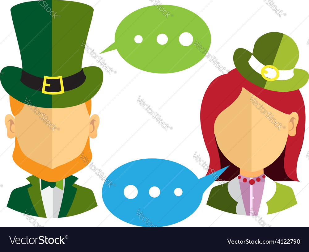 Male and female leprechauns icons vector | Price: 3 Credit (USD $3)