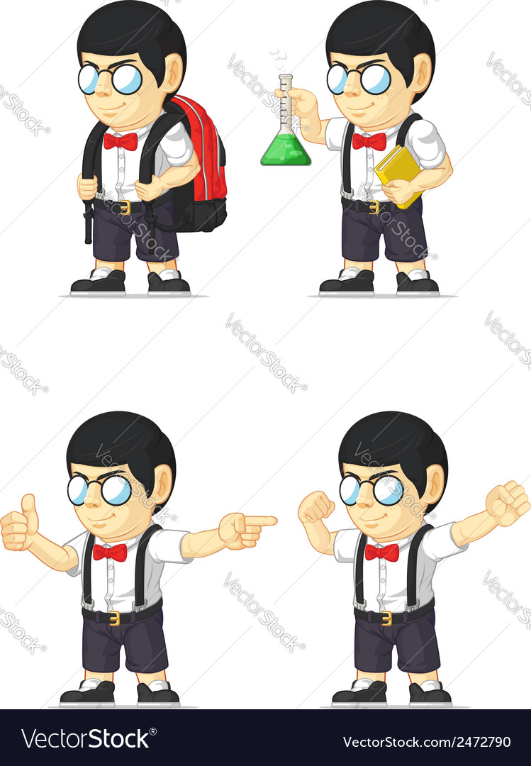 Nerd boy customizable mascot 9 vector | Price: 1 Credit (USD $1)