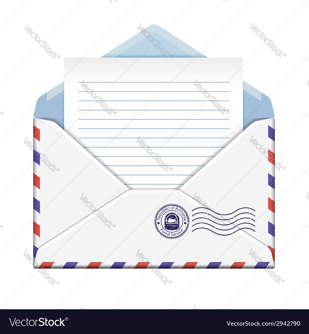 Open envelope with paper vector | Price: 1 Credit (USD $1)