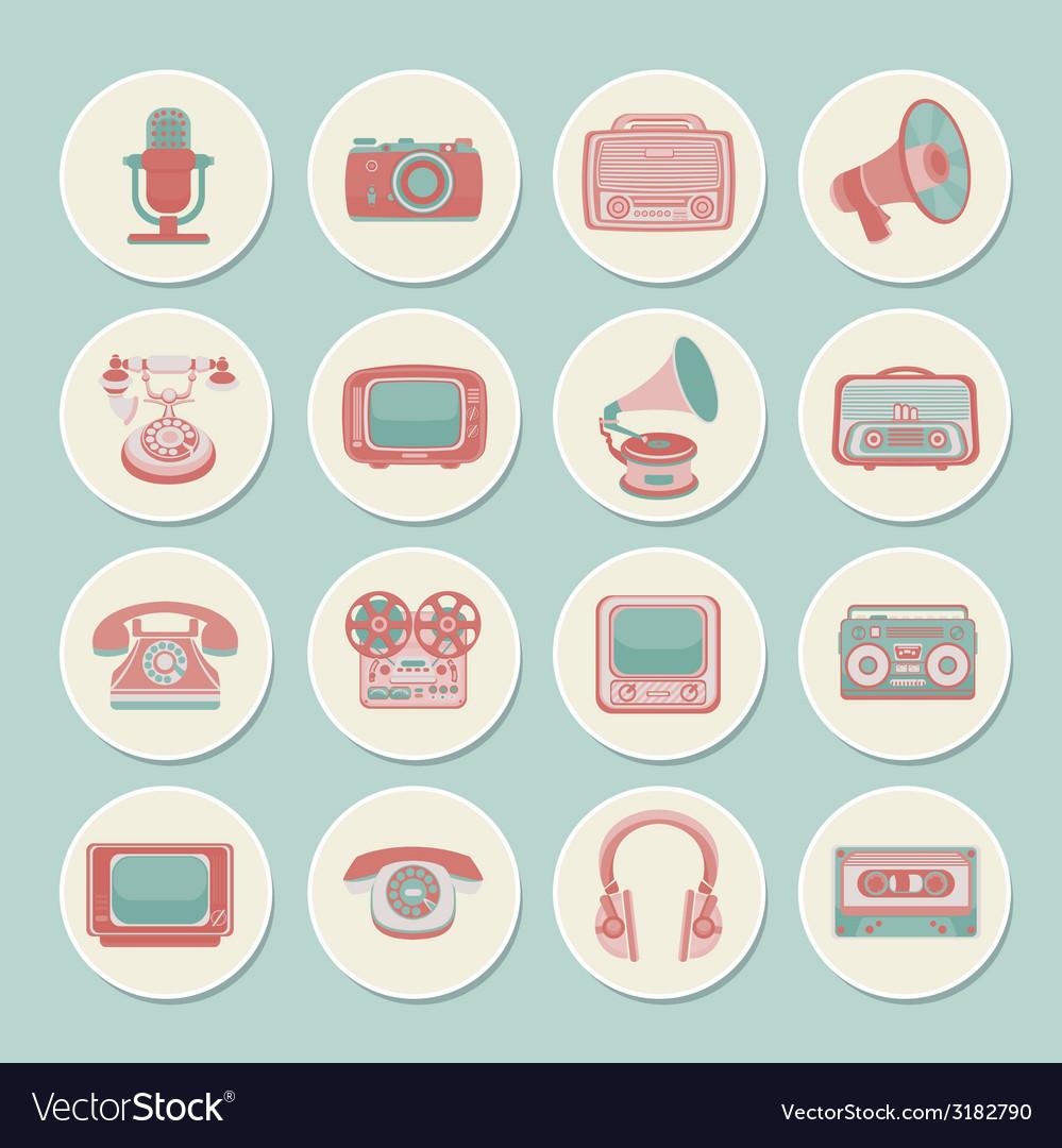 Retro media icons vector   Price: 1 Credit (USD $1)
