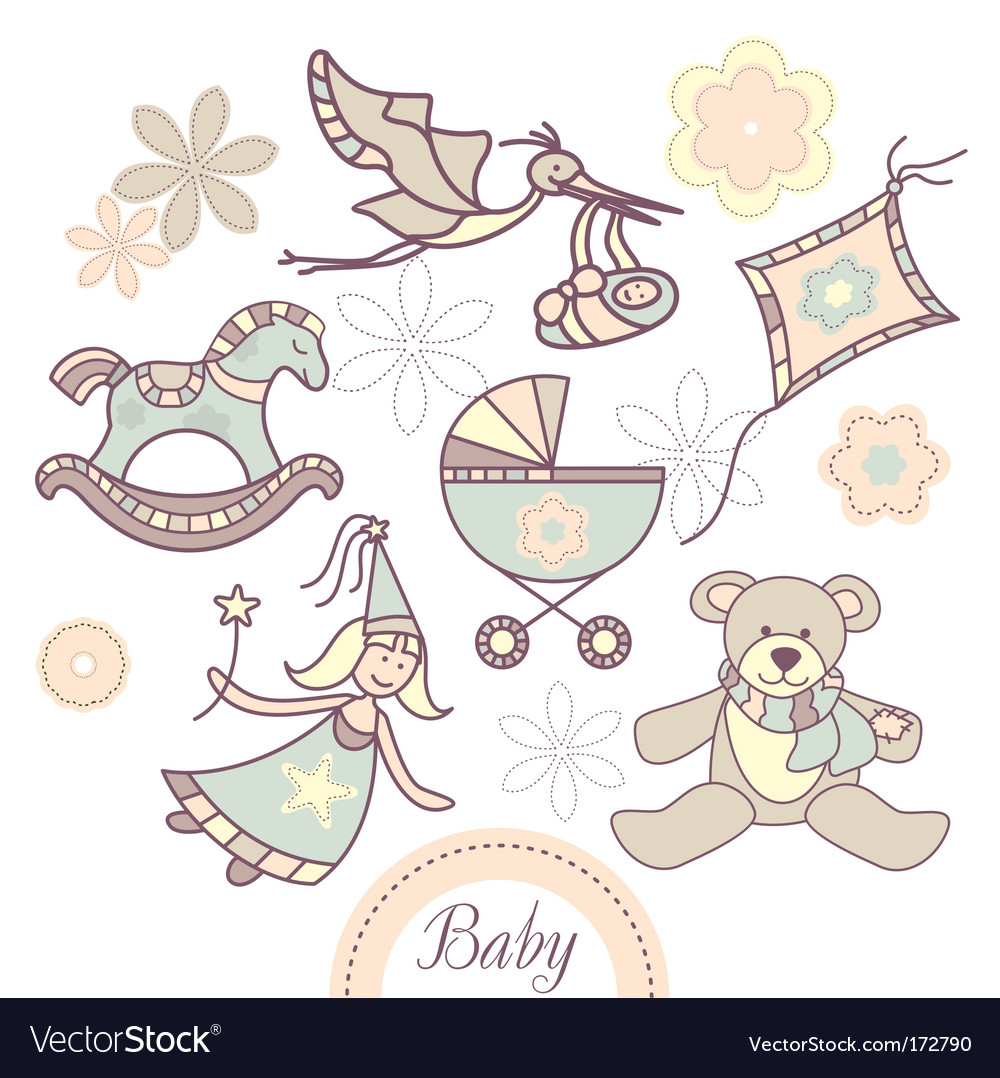 Set of different baby products vector | Price: 1 Credit (USD $1)