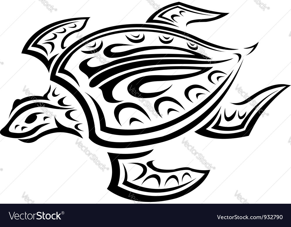 Underwater turtle in tribal style vector | Price: 1 Credit (USD $1)