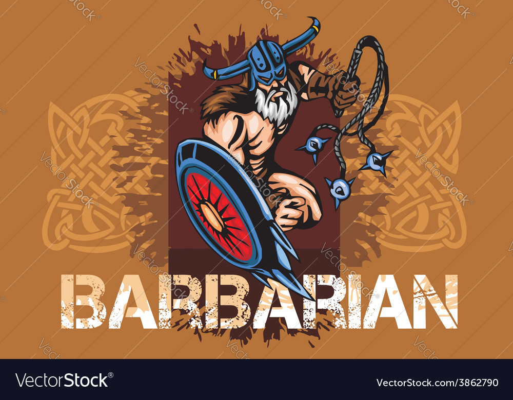 Viking norseman mascot cartoon with bludgeon and vector   Price: 3 Credit (USD $3)