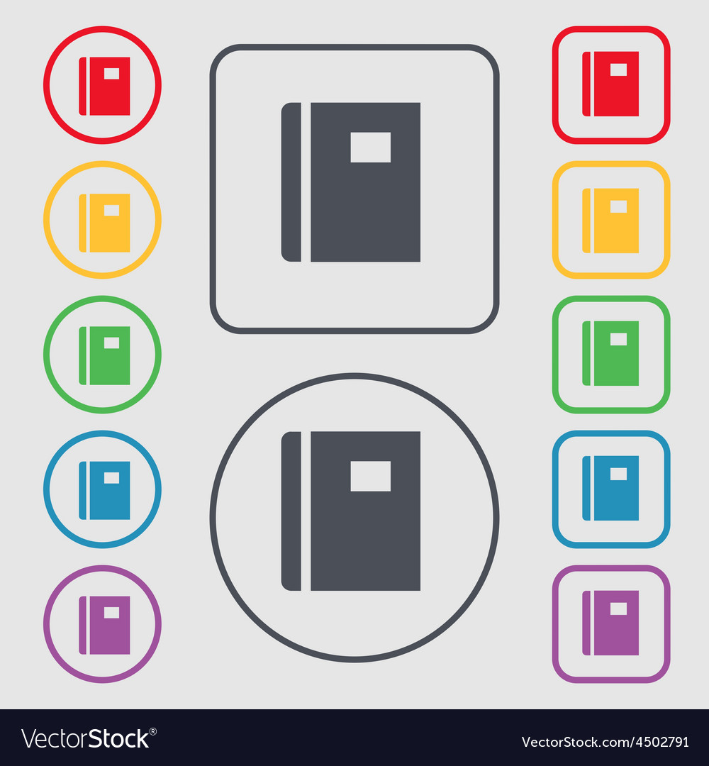 Book icon sign symbol on the round and square vector | Price: 1 Credit (USD $1)