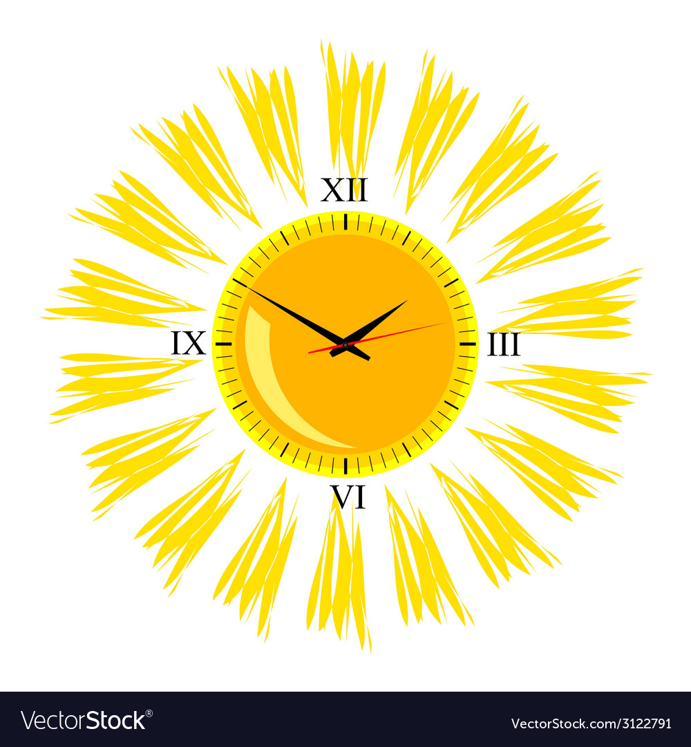 Clock in the sun one vector | Price: 1 Credit (USD $1)