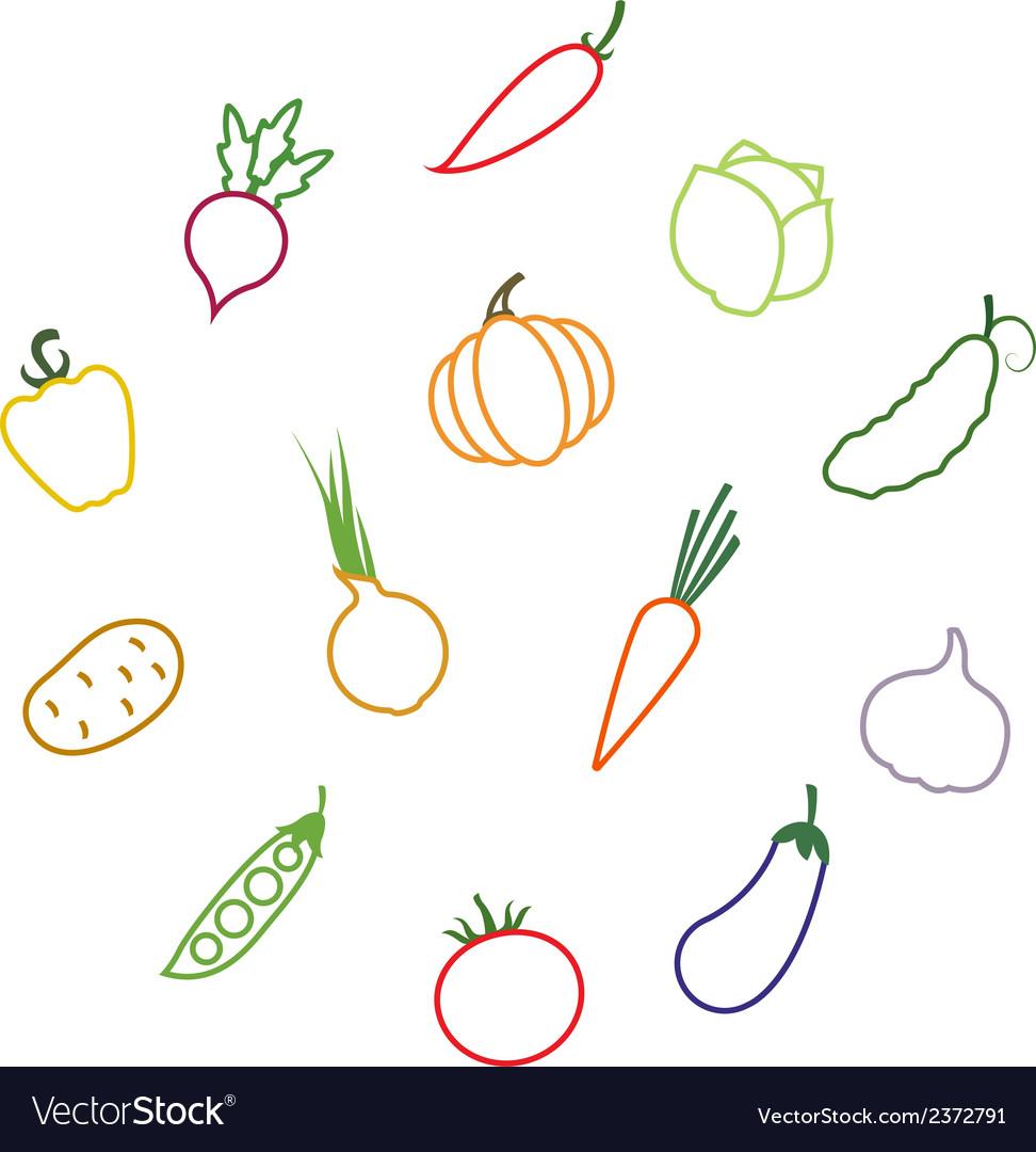Contours vegetables vector | Price: 1 Credit (USD $1)
