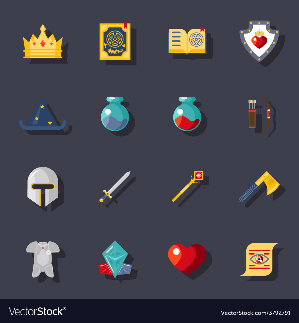 Fantasy game flat icons vector | Price: 1 Credit (USD $1)