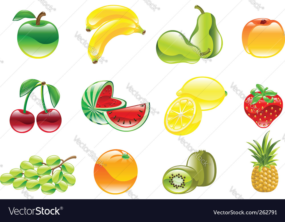 Gorgeous shiny fruit icon set vector   Price: 1 Credit (USD $1)