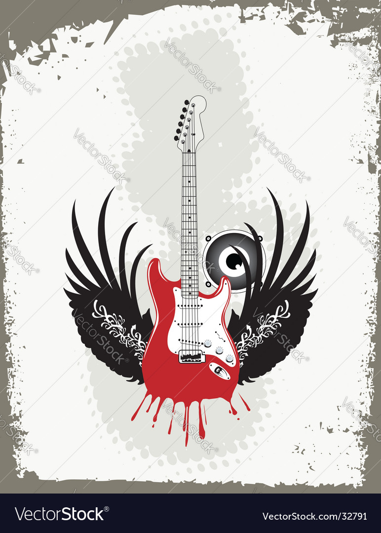 Grungy guitar vector | Price:  Credit (USD $)