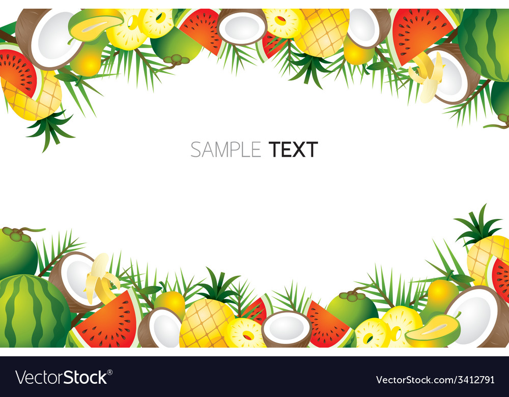 Mixed tropical fruits frame border vector | Price: 1 Credit (USD $1)