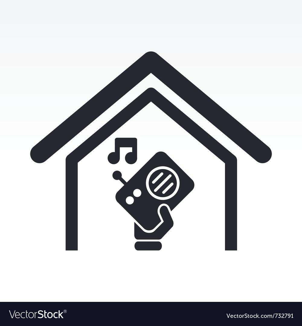Radio house icon vector | Price: 1 Credit (USD $1)