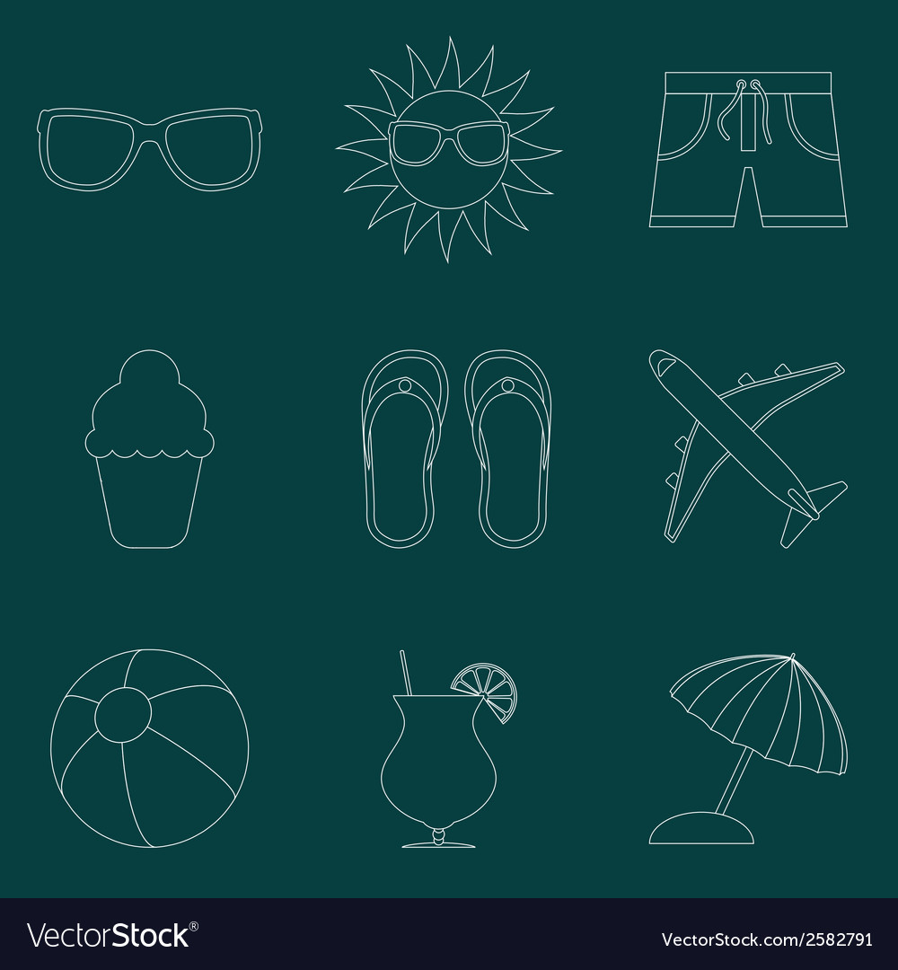 Set of icons of summer travel theme simple line vector | Price: 1 Credit (USD $1)