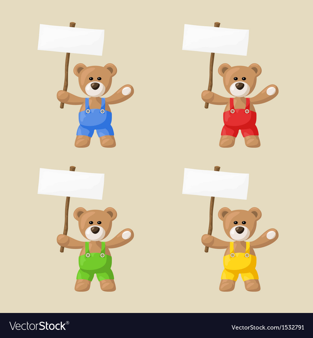 Teddy bears with white signboards vector | Price: 1 Credit (USD $1)