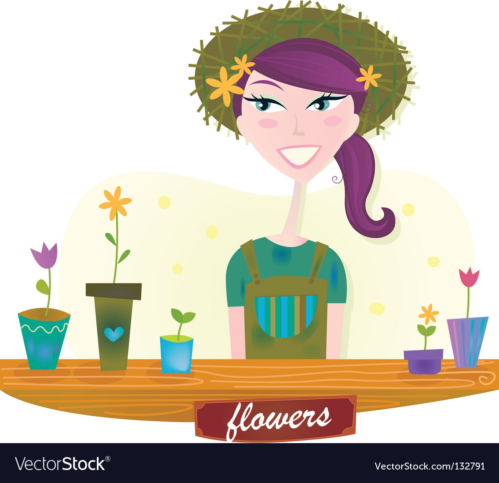 Woman with spring garden flowers vector | Price: 1 Credit (USD $1)