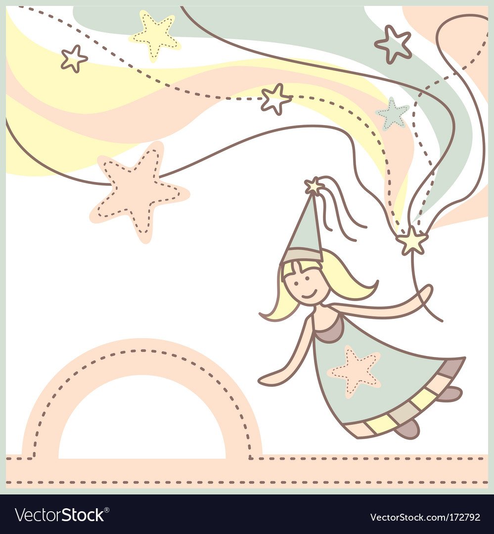 Baby card with lovely fairy vector | Price: 1 Credit (USD $1)