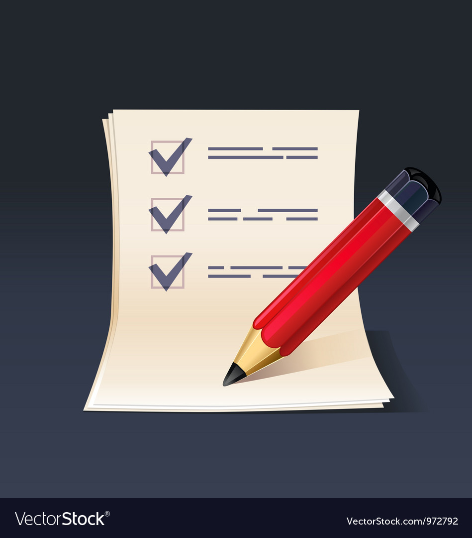Blank note paper or check list with pencil icon vector | Price: 3 Credit (USD $3)