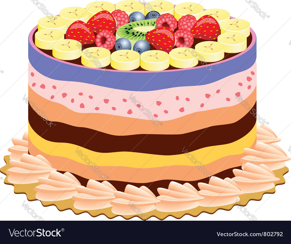 Cake with fruits vector   Price: 1 Credit (USD $1)