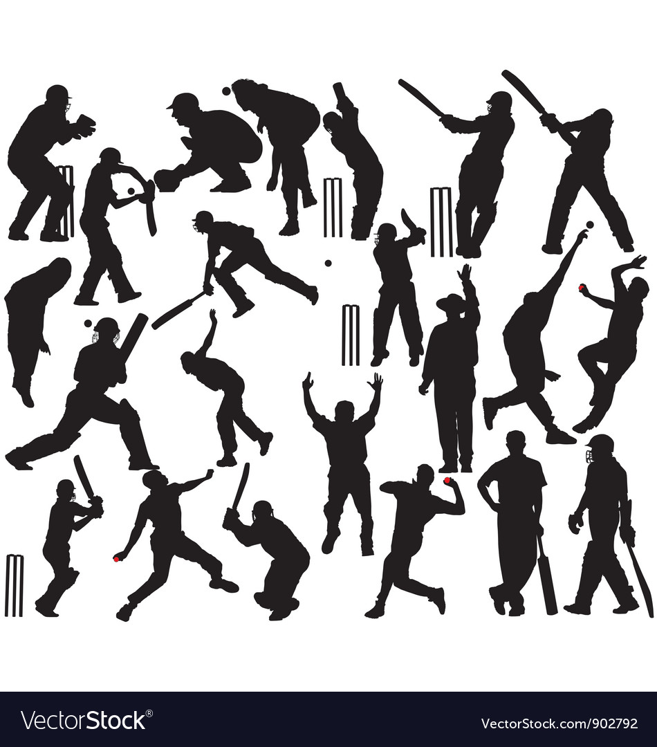 Cricket player silhouettes vector | Price: 1 Credit (USD $1)