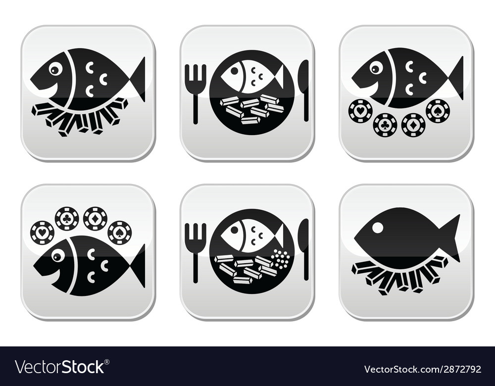 Fish and chips buttons set vector | Price: 1 Credit (USD $1)