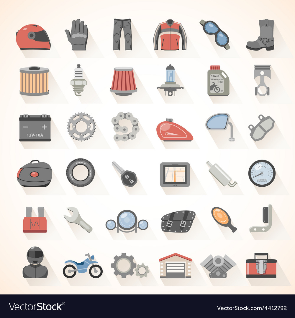 Flat icons motorcycle gear vector | Price: 3 Credit (USD $3)
