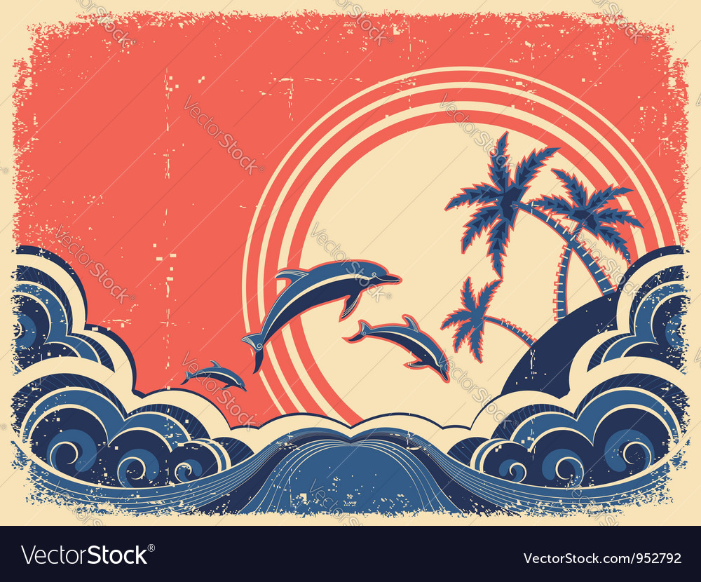 Grunge seascape poster with dolphins vector | Price: 1 Credit (USD $1)