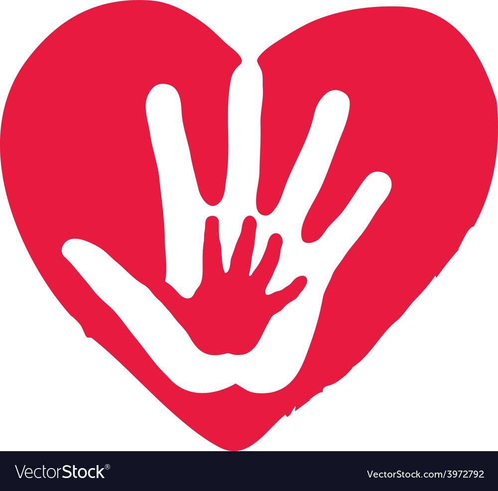 Hands inside big red heart vector | Price: 1 Credit (USD $1)