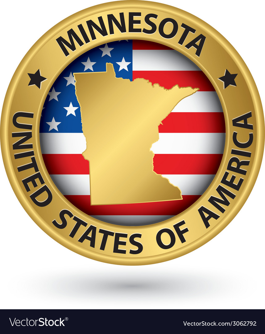 Minnesota state gold label with state map vector | Price: 1 Credit (USD $1)
