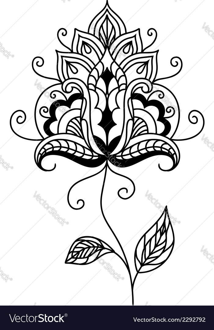 Ornate persian paisley floral element vector | Price: 1 Credit (USD $1)