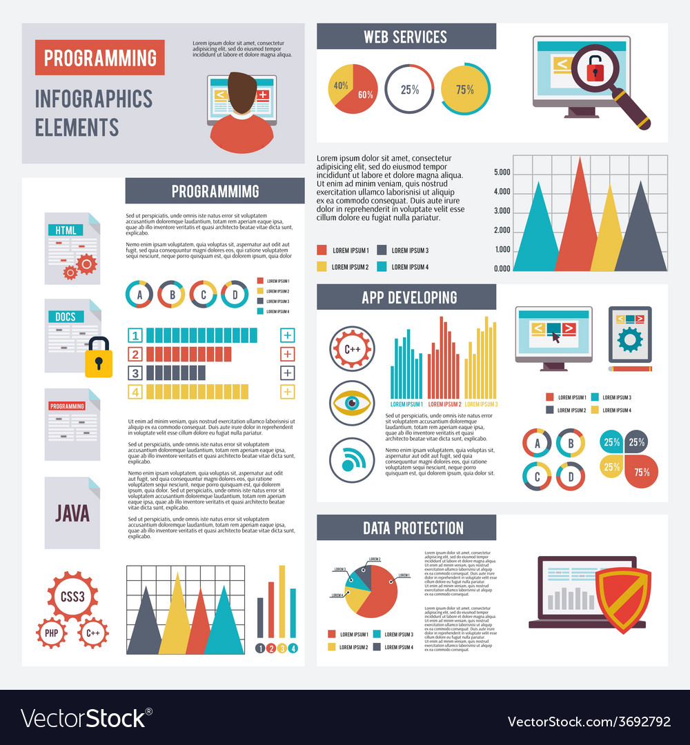 Programmer infographics set vector | Price: 1 Credit (USD $1)