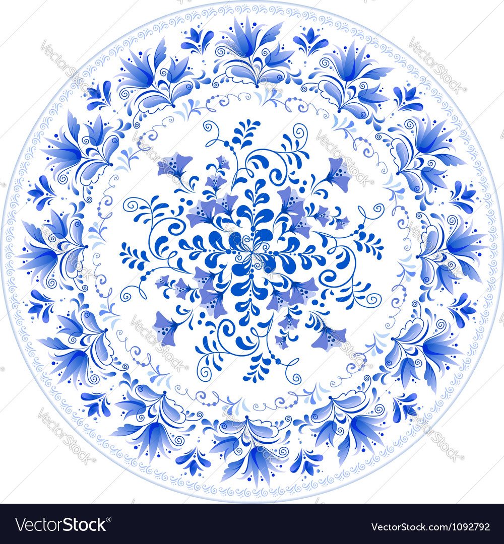Russian traditional plate in gzhel style vector | Price: 1 Credit (USD $1)