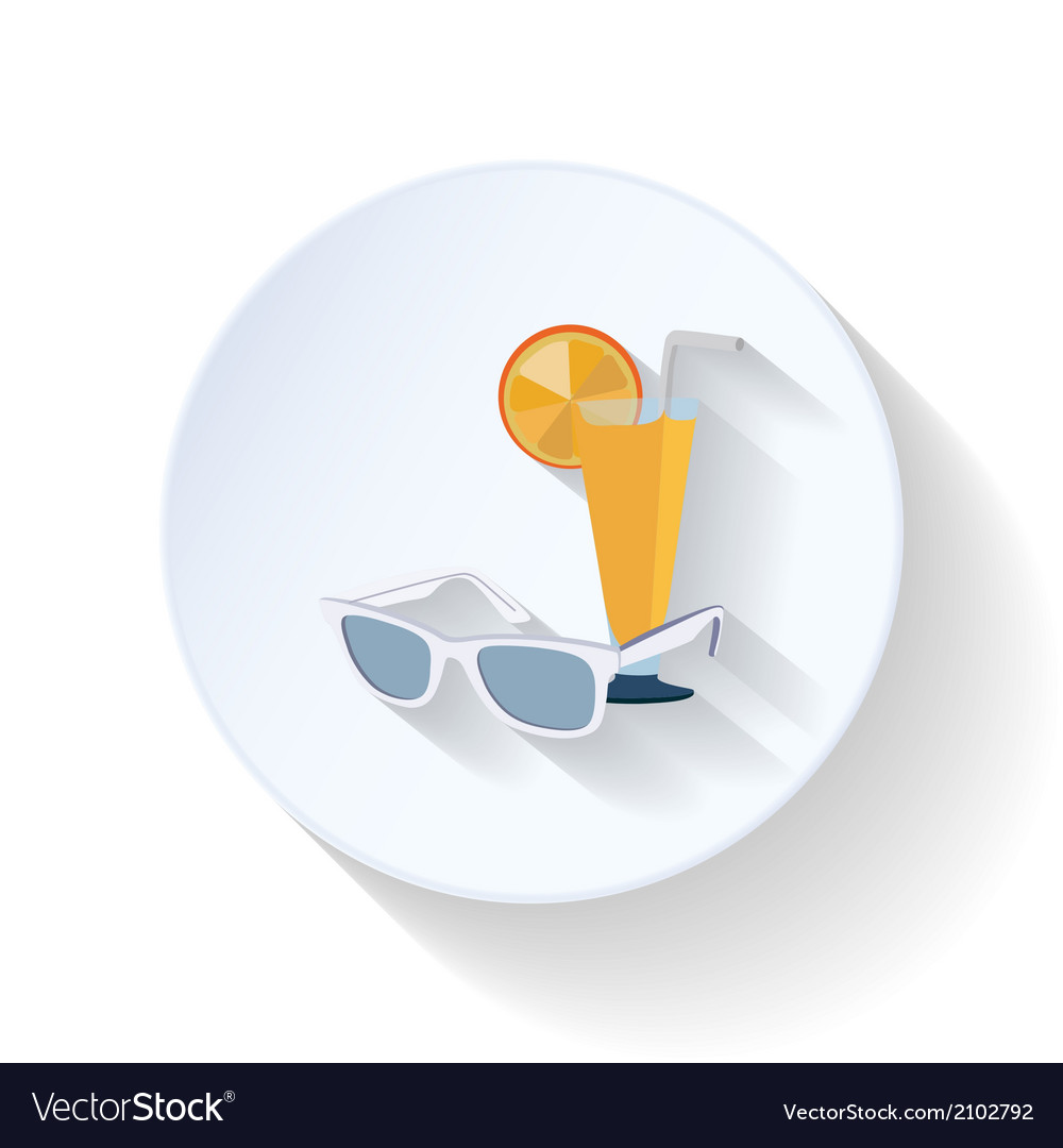 Sunglasses and cocktail flat icon vector | Price: 1 Credit (USD $1)