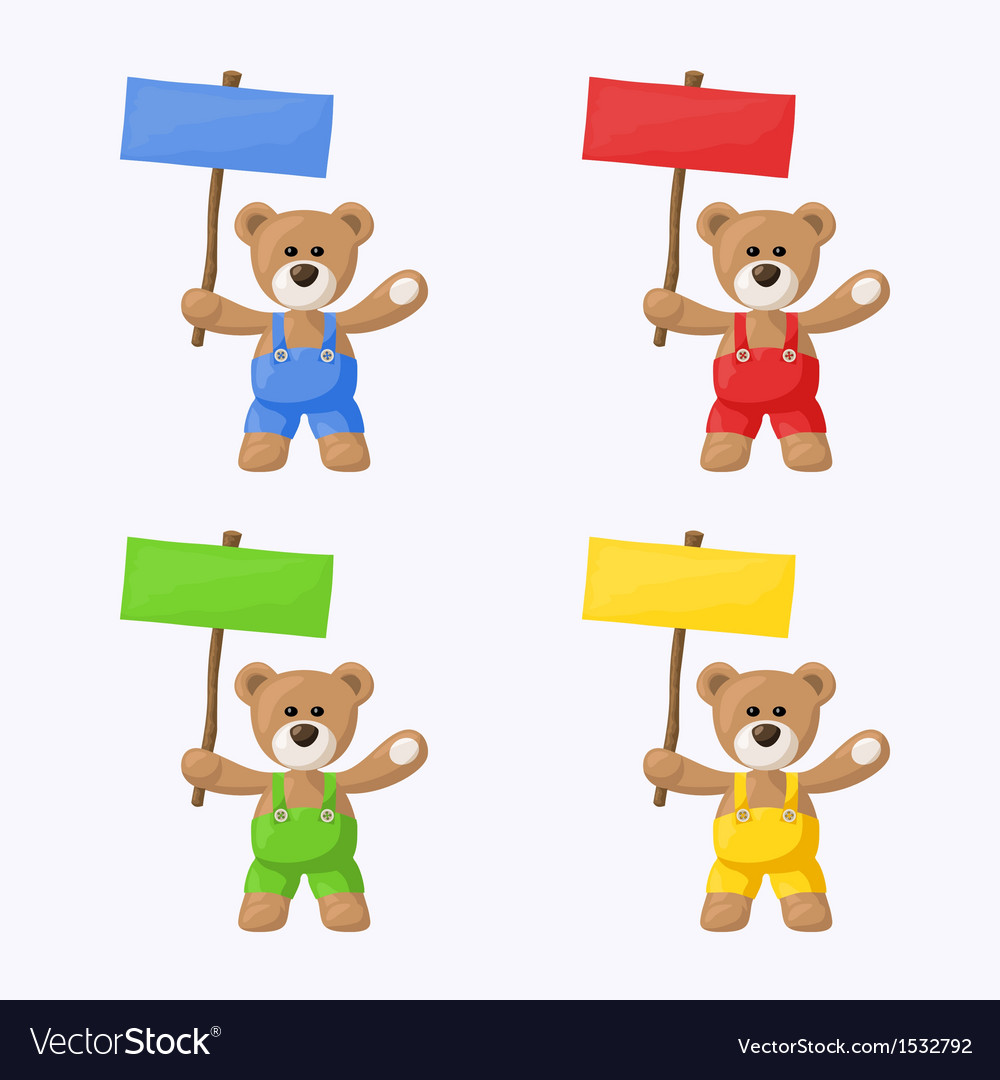 Teddy bears with colored signboards vector | Price: 1 Credit (USD $1)
