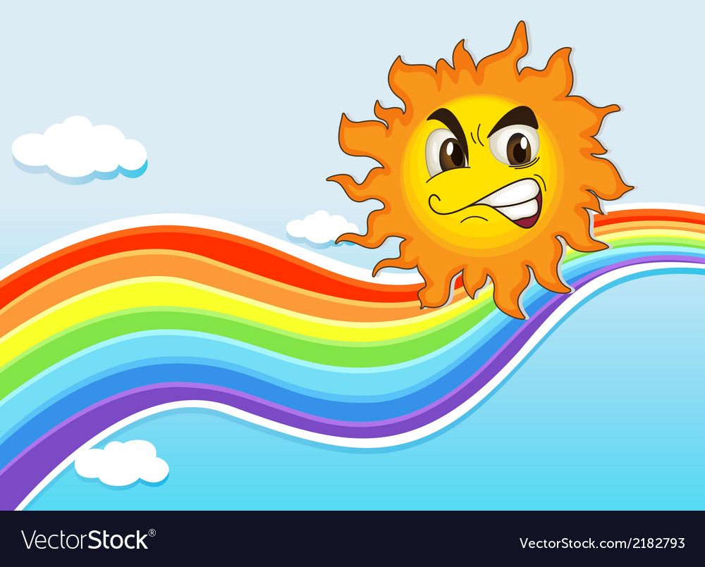 A sky with a rainbow and an angry sun vector   Price: 1 Credit (USD $1)