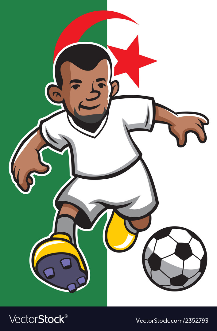 Algeria soccer player with flag background vector | Price: 1 Credit (USD $1)