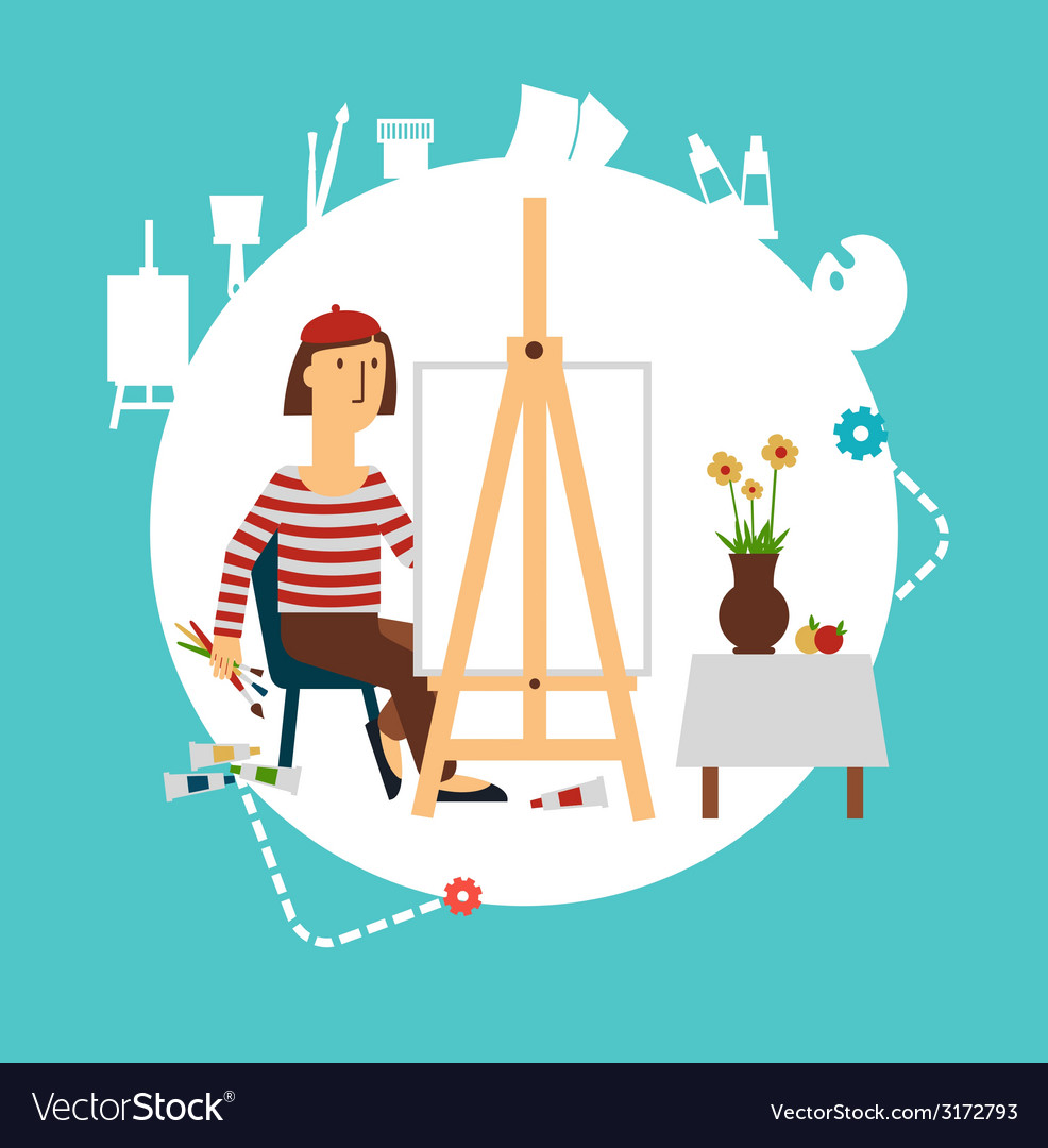 Artist paints still life vector | Price: 1 Credit (USD $1)
