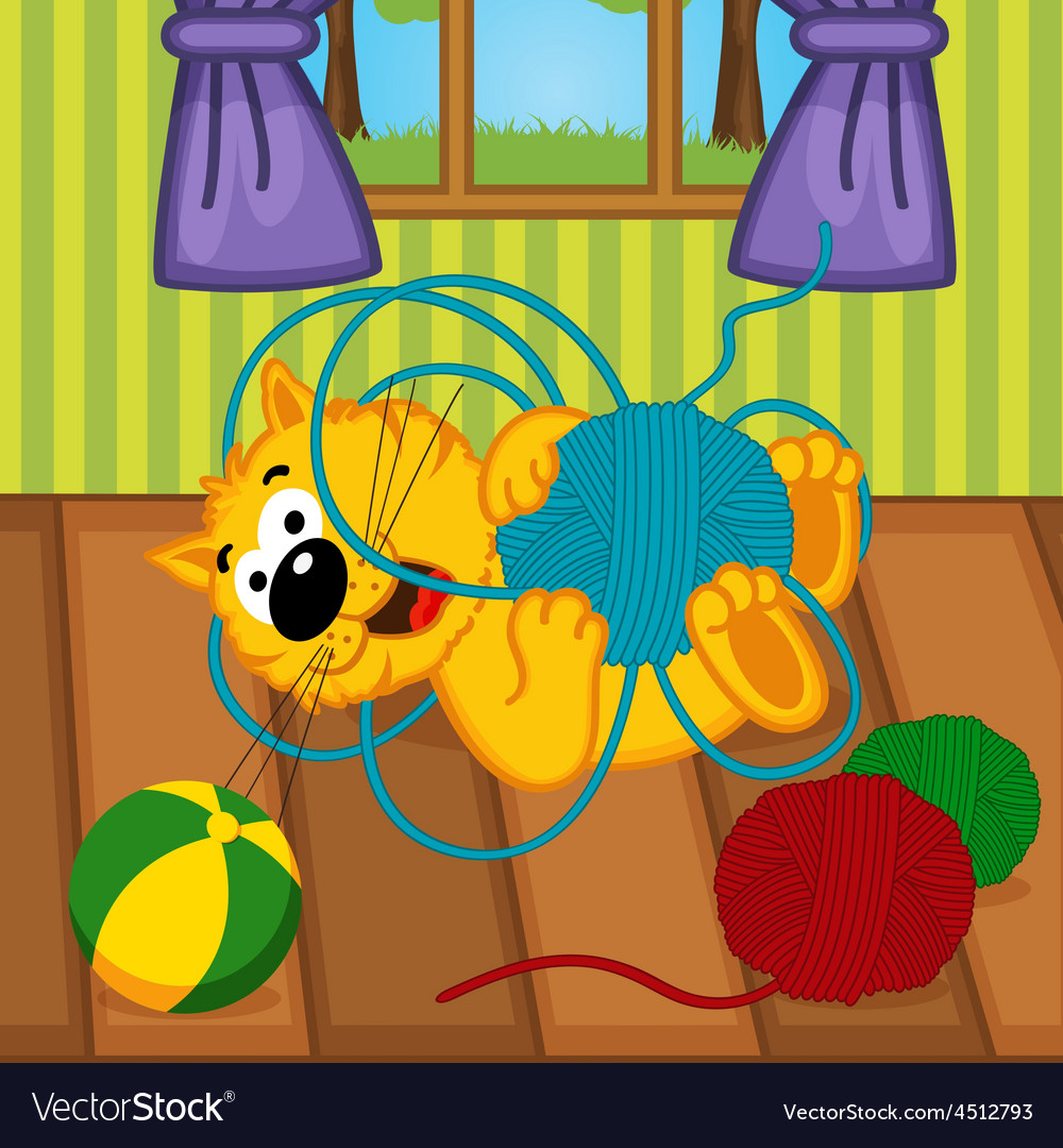 Cat playing with ball of yarn in room vector | Price: 3 Credit (USD $3)