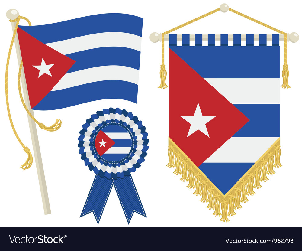 Cuba flags vector | Price: 1 Credit (USD $1)