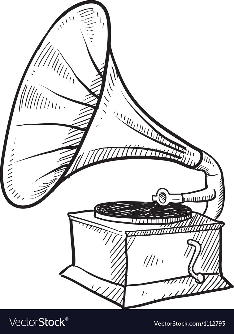 Doodle phonograph vector | Price: 1 Credit (USD $1)