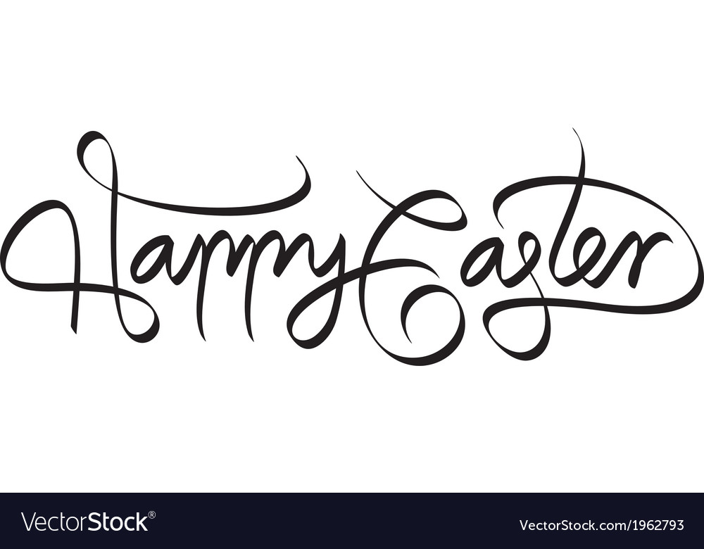 Happy easter hand lettering handmade calligraphy vector   Price: 1 Credit (USD $1)
