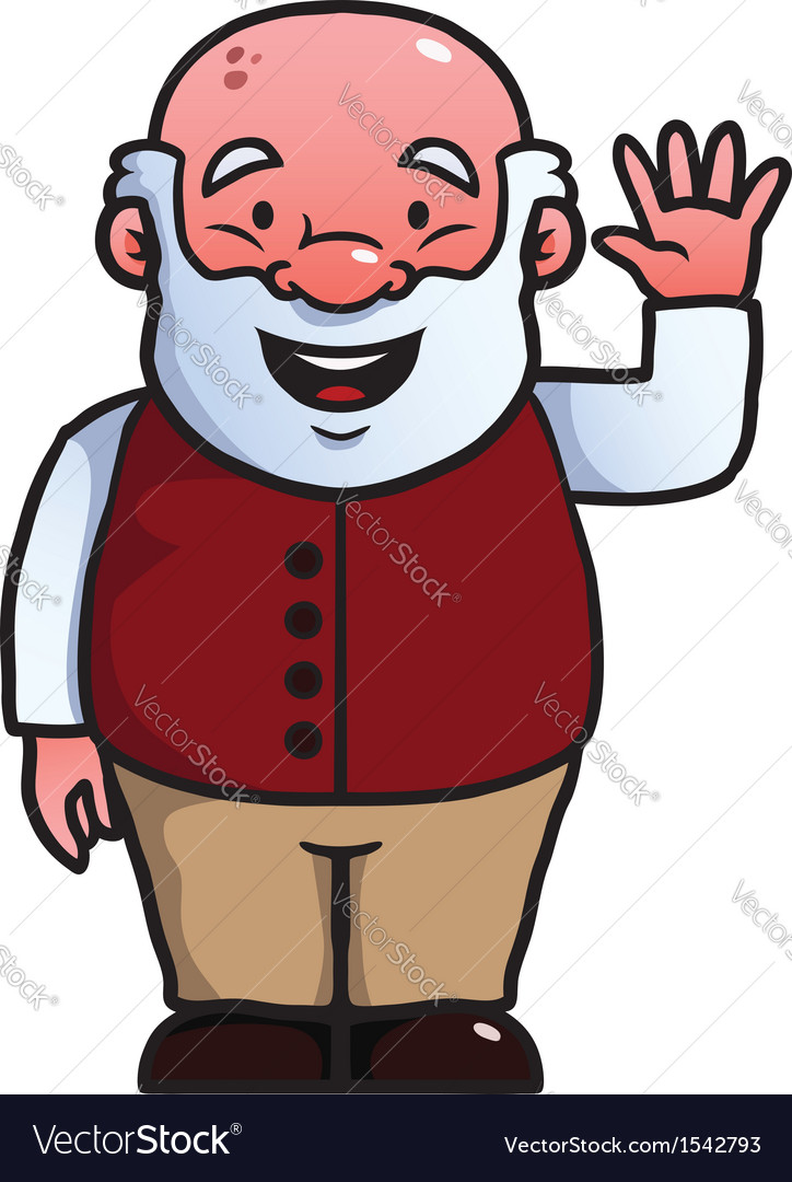 Old man waving at camera vector | Price: 1 Credit (USD $1)