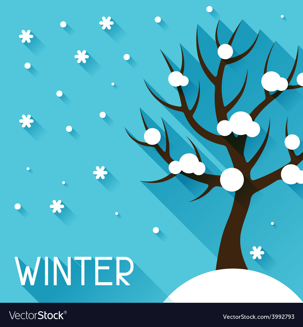 Seasonal with winter tree in flat vector | Price: 1 Credit (USD $1)