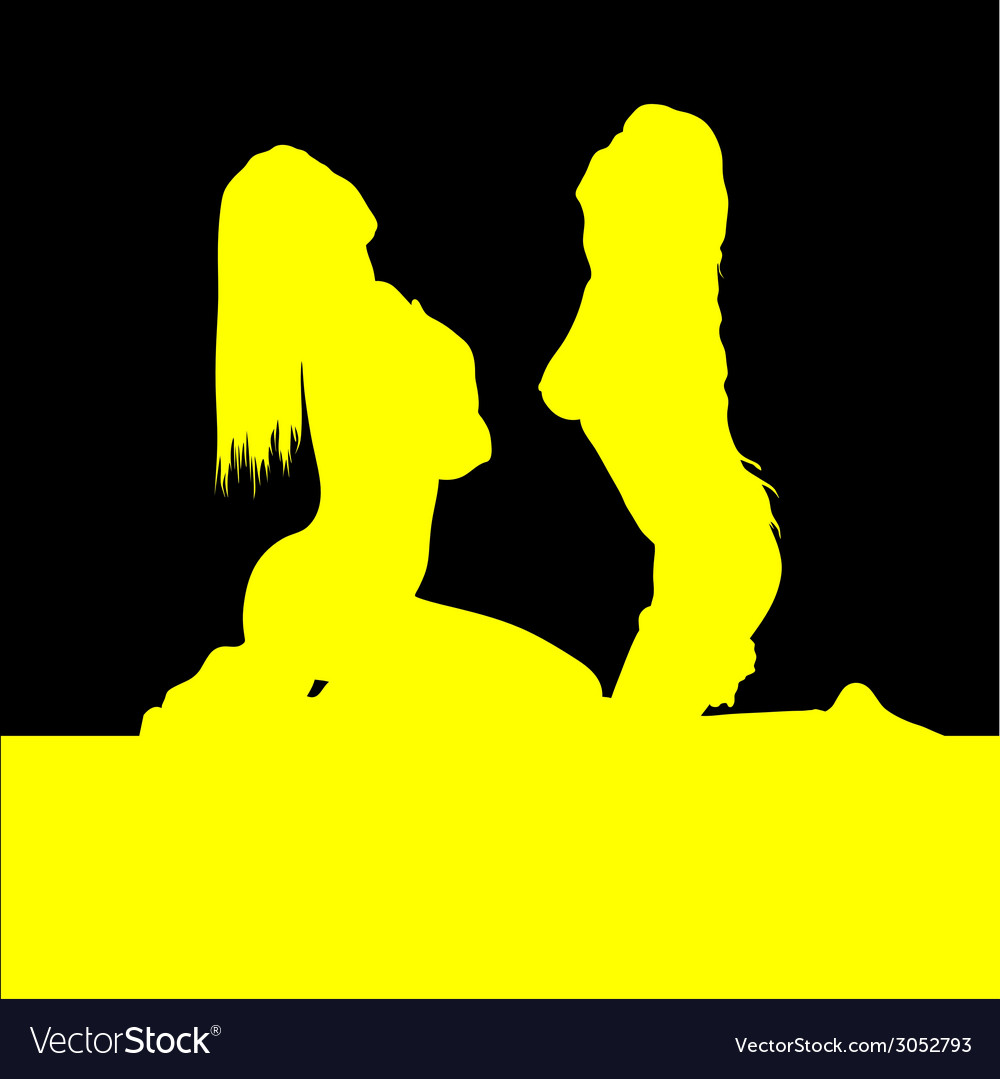 Yellow two girl on black background vector | Price: 1 Credit (USD $1)